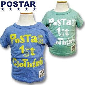 POSTAR ポスター ロゴPOP 半袖Tシャツ 男の子 ボーイズ 女の子 ガールズ ベビー アメカジ キッズ 子供服 Tシャツ 半袖 プリント ロゴ「1421-11」