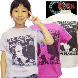 《クリアランス》RUSK ラスクガール 子供服 キッズ 女の子 ガールズ 半袖Tシャツ ジュニア ロック アメカジ プリント「3131-52」