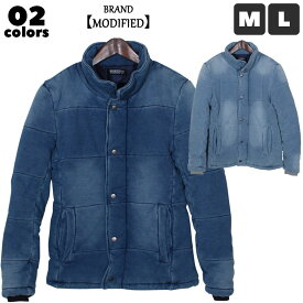 《送料無料》 メンズ カットデニムスタンドジャケット 防寒 アウタースタンドカラー 中綿ジャケット ダブルジップ「84816」