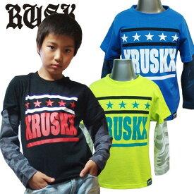 「3611-06」RUSK カモスリーブレイヤードロンT ラスク 男の子 ボーイズ アメカジ キッズ ジュニア 子供服 Tシャツ 長袖 プリント