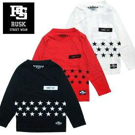 「3711-01」RUSK ポケット付き星プリントロンT ラスク 男の子 ボーイズ アメカジ キッズ ジュニア 子供服 Tシャツ 長袖 プリント