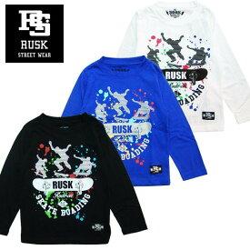 「3711-02」RUSK スケーターペイントロンT ラスク 男の子 ボーイズ アメカジ キッズ ジュニア 子供服 Tシャツ 長袖 プリント