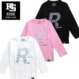 「3811-00」RUSK VネックラインストーンロンT ラスク 男の子 ボーイズ アメカジ キッズ ジュニア 子供服 Tシャツ 長袖 プリント