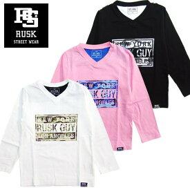 「3811-01」RUSK VネックカモロゴロンT ラスク 男の子 ボーイズ アメカジ キッズ ジュニア 子供服 Tシャツ 長袖 プリント Vネック