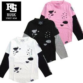 「3811-07」RUSK レイヤードフェイクプリントロンT ラスク 男の子 ボーイズ アメカジ キッズ ジュニア 子供服 Tシャツ 長袖 プリント