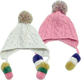 「6941-08」POSTAR 3色カラフルボンボン耳あて付き ニット帽 子供服 キッズ 男の子 女の子 ボーイズ ガールズ ポスター 防寒 帽子 ニット帽