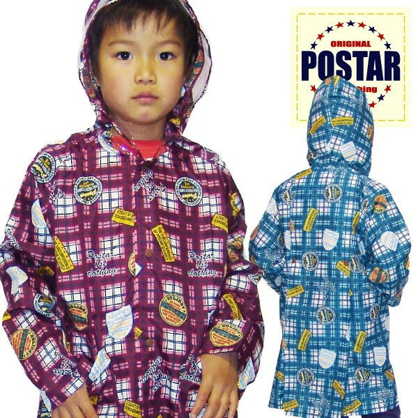「6011-09」 POSTAR チェック柄レインコート キッズ ランドセル対応 おしゃれなチェック柄 男の子 女の子 雨具 通園 通学