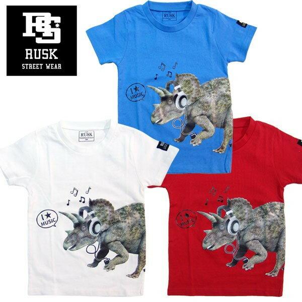 「3821-01」RUSK 恐竜ミュージックTシャツ ラスク 男の子 ボーイズ アメカジ キッズ ジュニア 子供服 Tシャツ 半袖 プリント 恐竜