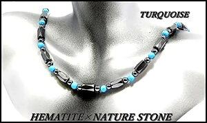 [ZIG's]◆お洒落・魅惑の輝き/幸運をもたらす/高級感/[45cm]/[ヘマタイト×ターコイズ]/磁気ネックレス/BLACK-GRAY×LIGHT-BLUE/アンクレット,ブレスレット可能/天然石・パワーストーン/成功・勝利・自