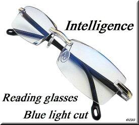 [ZIG's]◆知的&クール・高級感 〜 リムレス(縁なし)/老眼鏡(リーディンググラス)/ブルーライトカット/軽量/カットレンズ/Sexyなパープル(ブラック)/ゴールドブリッジ/ツーポイント/メンズ・レディース・ユニセックス/ハードケース、レンズクロス付◆glrn02bl