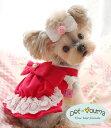 犬服 ドッグウェア 送料無料 デカりぼん ジャンスカ風 春物 ワンピース 小型犬用 XS S M L XL スカート ジーモアンド…