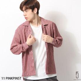 カジュアルシャツ メンズ オープンカラーシャツ 開襟シャツ 長袖 ストライプ ZIP ジップ 春 春物 春服 (17110) #