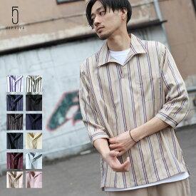 シャツ メンズ オープンカラーシャツ カジュアルシャツ スキッパーシャツ 開襟シャツ 七分袖 半端丈 無地 ストライプ ZIP ジップ FIVE (171902bz)