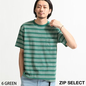 Tシャツ メンズ カットソー 半袖 クルーネック 刺繍 ボーダー 刺繍ボーダー ZIP ジップ (171923) # 送料無料-除外地域有 送料無料-除外地域有