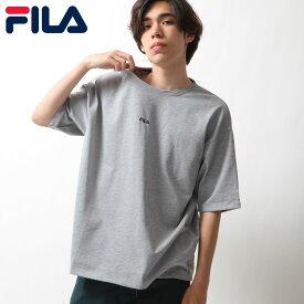 Tシャツ メンズ レディース カットソー 半袖 クルーネック ワンポイント ビッグシルエット ロゴ刺繍 別注 FILA フィラ ZIP ジップ (fh7526) #