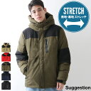 中綿入りジャケット メンズ 中綿ジャケット ジャケット ブルゾン ストレッチ フードジャケット 撥水加工 無地 ZIP ジップ (600155)