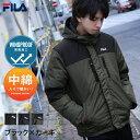 FILA ダウンジャケット メンズ 中綿ジャケット ジャケット ブルゾン 中綿 防風 フード ロゴ刺繍 切替 メンズファッション ZIP FIVE ジップファイブ 冬 冬服 冬物 (fh7632)