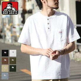 Tシャツ メンズ カットソー 半袖Tシャツ Tee ティーシャツ ヘンリーネック ワンポイント BEN DAVIS ベンデイビス シンプル 無地 ZIP ジップ (c-0580914) #