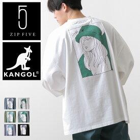 KANGOL Tシャツ メンズ 父の日 ロンT カットソー ビッグTシャツ くすみカラー ビッグシルエット ビックシルエット バックイラスト グラフィックアート カンゴール ZIP ジップ 春 春物 春服 (kgaf-0301) #