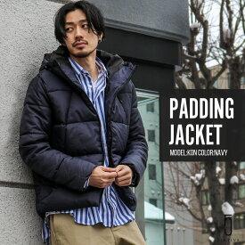 中綿ジャケット メンズ フェイク ダウンジャケット ジャケット ジャンバー 中綿 フード コスパ ダウン アウター あったか 暖か 撥水 無地 ZIP FIVE ジップ 送料無料 (zp341559)D