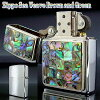 ZIPPO Zippo lighters Zippo lighter Sea Weave Brown and Green Sea fabric pattern two and paste no shellfish, 20190
