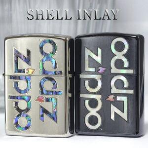 SHELL INLAY ZIPPO LOGO シェルインレイジッポーロゴ◆喫煙具 ZIPPO ジッポー オイルライター 天然貝 ブラックチタン/プラチナ (2TIBK-LOGO/2PTK-LOGO) 両面加工 高級感