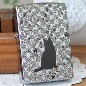 MetalPlate メタルプレート 2MP-ネコと花 ◆ZIPPO ジッポー オイルライター 猫・ネコ・ねこ・CAT 女性におすすめ かわいい
