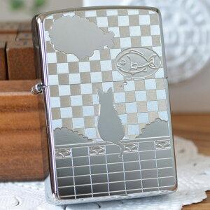 MetalPlate メタルプレート 2MP-ネコと雲 ◆ZIPPO ジッポー オイルライター 猫・ネコ・ねこ・CAT 女性におすすめ かわいい