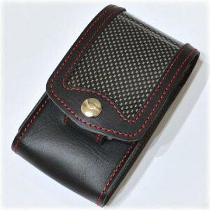 カーボン&レザー シガレットケース RDステッチ ◆ZIPPO ジッポー オイル ライターケース 喫煙具 携帯用 シガレットケース
