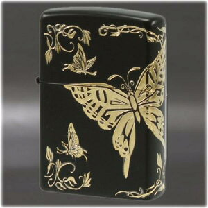 二面連続加工 和柄 -蝶- BK/GD ◆喫煙具 ZIPPOライター ジッポー オイルライター Butterfly black japan