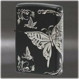 二面連続加工 和柄 -蝶- BK/SV ◆喫煙具 ZIPPOライター ジッポー オイルライター Butterfly black japan
