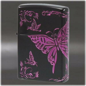 二面連続加工 和柄 -蝶- BK/PP ◆喫煙具 ZIPPOライター ジッポー オイルライター Butterfly black japan