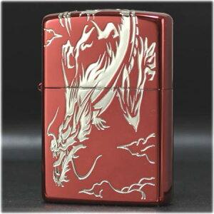 3面龍 イオンレッド #S (シルバー)◆喫煙具 ZIPPOライター ジッポー オイルライター 3面リュウ 赤 RED 和柄