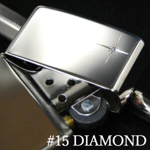 スターリング シルバー #15 天然ダイヤ ◆ZIPPO ジッポー オイル ライター 喫煙具 Sterling Silver 純銀 天然石 Diamond