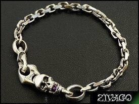 ブレスレット silver 925 スカル ヘッド メンズ アメジスト ZIVAGO ジヴァゴ オリジナル zw-034