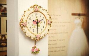 ヨーロッパの雰囲気 壁掛け時計 お花 時計 壁掛け おしゃれ かわいい 華やか リビング 玄関 寝室 ヨーロピアン バラ 装飾送料無料