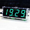 レ コンパクトなDIYデジタルLEDクロックキット4桁ライトコントロール温度日時表示透明ケース レターパック送料無料