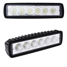 18W 12V 6発 LEDワークライト 2個セット スポットライト 投光器 ランプ フォグ オフロード 重機 SUV 4WD トラック