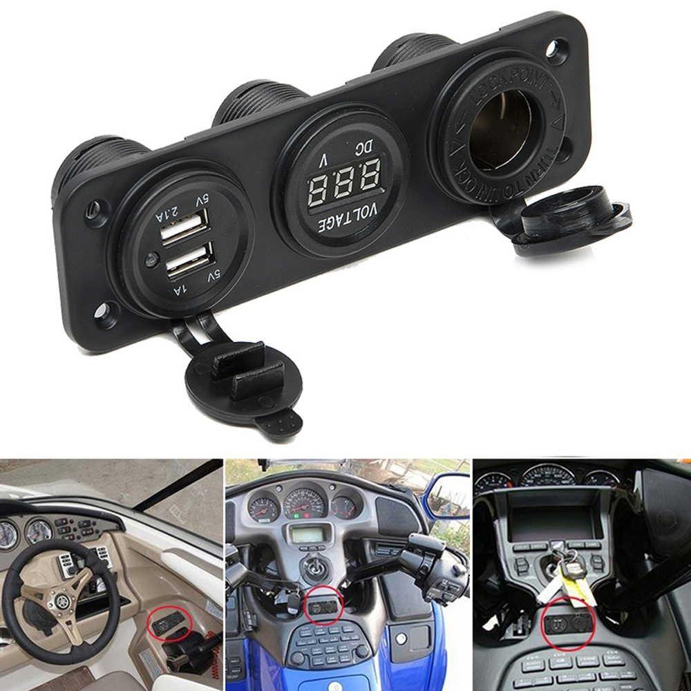 防水 シガーソケット USB2口 電圧計 3連 増設 12V / 24V スマートフォン GPS 車 トラック バイク 船 キャンピングカー