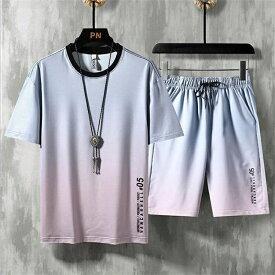 ジャージ セットアップ メンズ 夏 上下セット 半袖tシャツ ハーフパンツ 2点セット 大きいサイズ カジュアル ルームウェア 部屋着 wy464