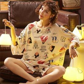 「予約商品」値下げ 送料無料 レディース パジャマ セットアップ 半袖 部屋着 Tシャツ 短パン ルームウェア 可愛い ゆったり 寝巻き 女性用 コットン 寝間着 おしゃれ(W-68)