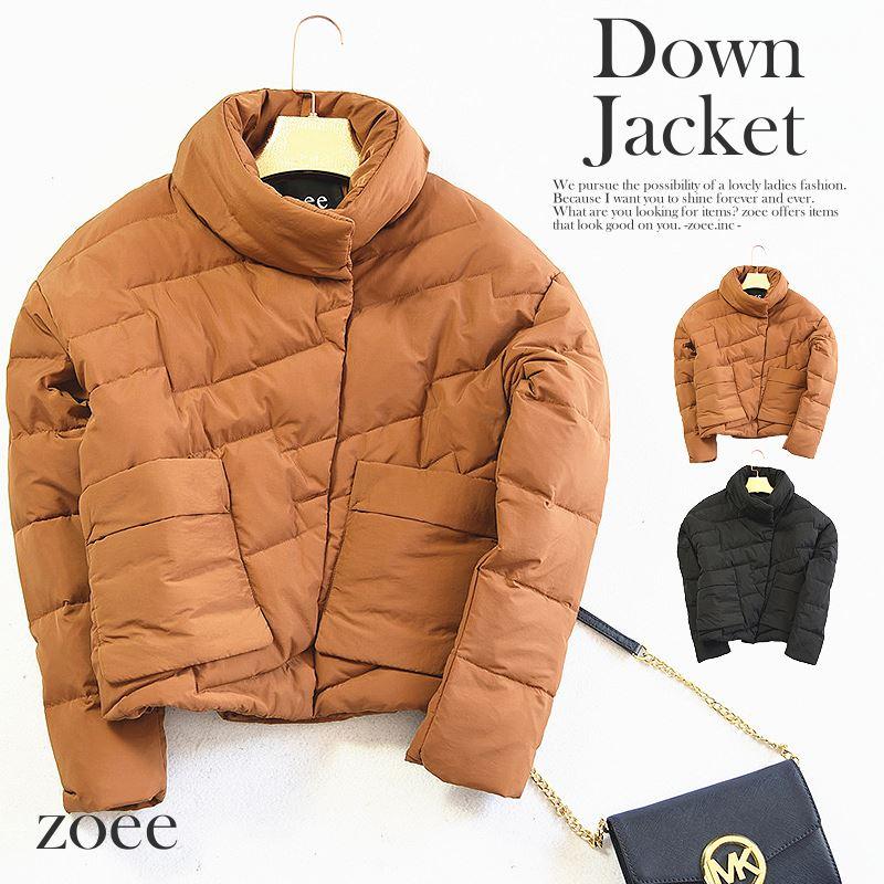 【母の日】ダウンジャケット レディース 秋冬 ショート丈 ダウン90% キャラメル/ブラック S/M/L d303