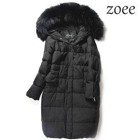 ダウンコート コート レディース 大きいサイズ ロング ショート ラクーンファー ダウンジャケット 冬 暖かい ファーコート 毛皮 アウター かわいい おしゃれ きれいめ リアルファー ブラック M/L e304
