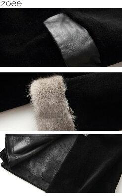 ウールコートステンカラーコートミンクファー使用レディース秋冬アウターコート毛皮ブラックM/L/2L/3Lf1f30