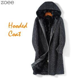 フーデッドコート フード付きコート メンズ 秋冬 アウター コート ラムファー 毛皮 大きいサイズ ブラック L/2L/3L/4L/5L f4a06