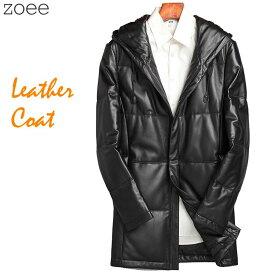 ダウンコート レザーコート メンズ 秋冬 コート アウター ラムレザー 本革 ダウン90% フード付き 大きいサイズ ブラック M/L/2L/3L/4L/5L f4b14