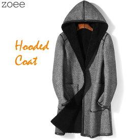 フーデッドコート メンズ 秋冬 コート ステンカラーコート モッズコート 長袖 無地 大きいサイズ グレー L/2L/3L/4L/5L 【佐】 f4g06