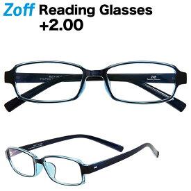 +2.00 スクエア型リーディンググラス|Zoff Reading Glasses 老眼鏡 シニアグラス ゾフ 軽量プラスチック おしゃれ 携帯用 メンズ 男性用 レディース 女性用【ZT191R02_20R1 ZT191R02-20R1 ブルー】