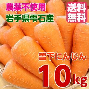 【送料無料】無農薬 雪下人参10kg 訳あり 規格外品 にんじんジュース 岩手県 雫石産