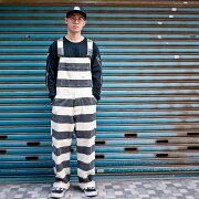 囚人パンツオーバーオールしましまボーダーワイドバイカーワークオールインワンカスタムワークスゾンCUSTOMWORKSZON